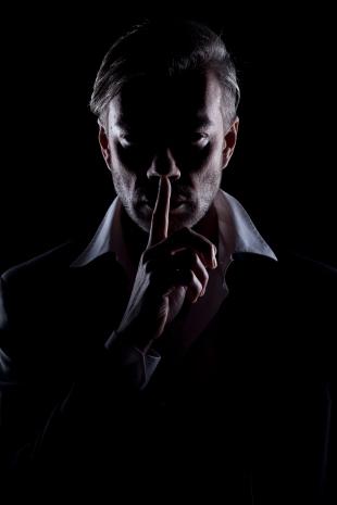 Man's silhouette in the dark